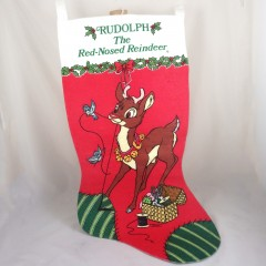 Large Rudolph Vintage Felt Christmas Stocking, Robert L May
