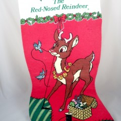 Large Felt Rudolph Christmas Stocking, Vintage Robert L May