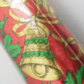 Vintage Rhapsody Sculptured Foil Christmas Wrapping Paper Roll with Gold Bells and Holly on Red