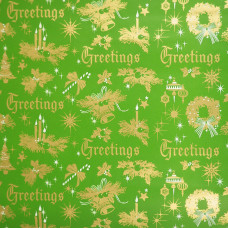 Christmas Greetings 1970s Vintage Wrapping Paper Roll - Green and Gold