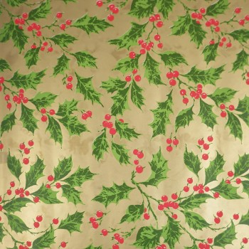Christmas Holly 1970s Vintage Wrapping Paper Roll - Gold Green Red