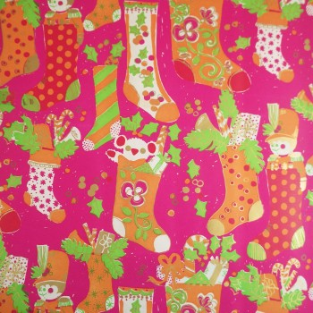 Whimsical Christmas Stockings Vintage Gift Wrap Paper Roll for Child