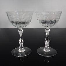 Pair of Fostoria Navarre Tall Sherbet Champagne Glasses