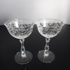 Pair of Fostoria Navarre Tall Sherbet Champagne Glasses