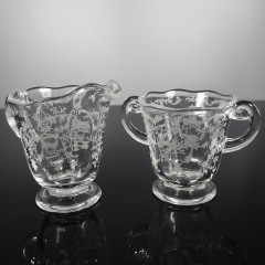 Fostoria Navarre Clear Sugar and Creamer Set, Vintage Elegant Crystal Glassware