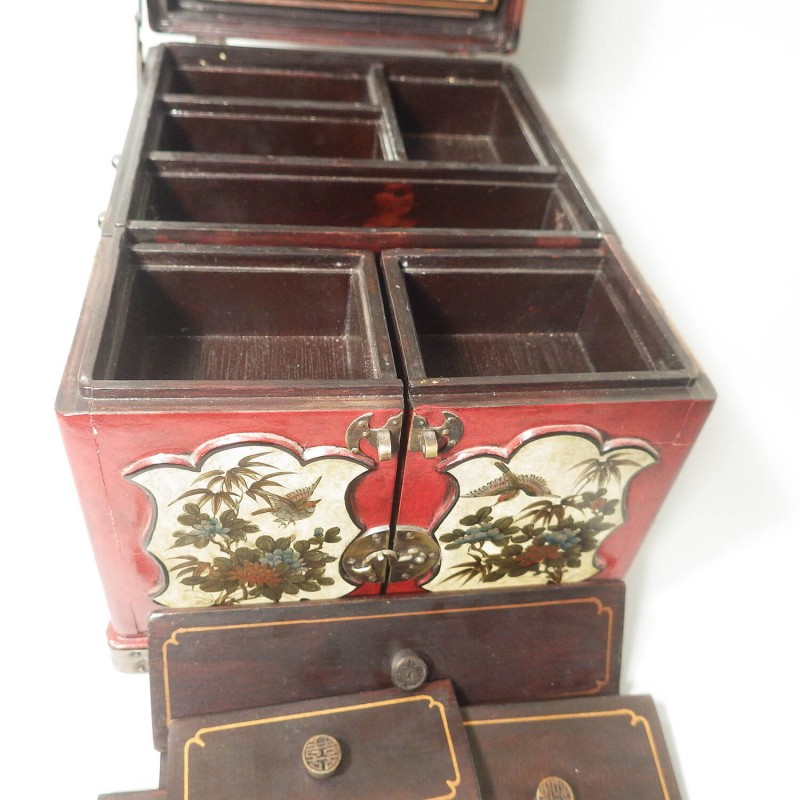 Vintage Ornate Chinese Red Lacquer Box Multi Drawer and Fold Out Mirror