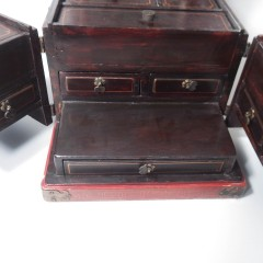 Vintage Ornate Chinese Red Lacquer Jewelry Box with Six Lidded Compartments, Five Drawers and Fold Out Mirror