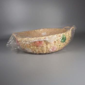 "Vintage 10"" Round Raffia Woven Straw Basket Pyrex Casserole Carrier with Handles"