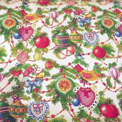 Vintage Christmas Garland Wrapping Paper Unused Jumbo Sheet 40 x 29.5