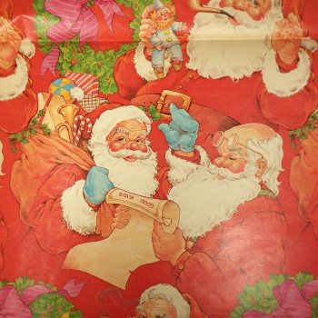 Vintage Good Kids Santa List Christmas Wrapping Paper Jumbo Sheet Partial