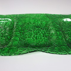 Long Green Bent Glass Vintage Art Glass Tray Pebble Texture Three Part Divided
