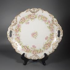 Antique Coiffe Borgfeldt Coronet Limoges Cake Plate - Pink Wild Roses