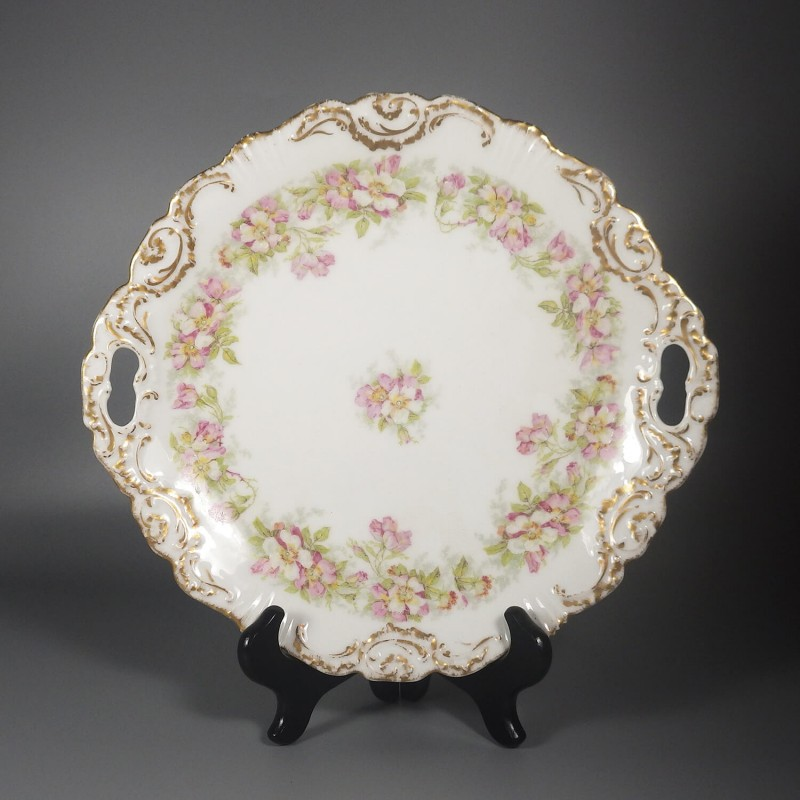Antique Coiffe Borgfeldt Coronet Limoges Cake Plate with Wild Roses