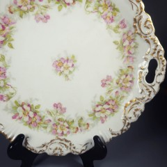 Antique Coiffe Borgfeldt Coronet Limoges Cake Plate - Pink Wild Roses