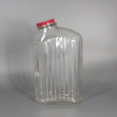 Narrow Vintage Ribbed Glass Refrigerator Bottle with Offset Humpback Top
