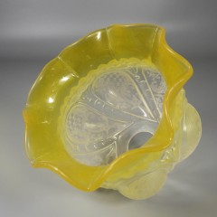 Yellow Etched Vintage Glass Fitterless Electric Lamp Shade Baroque Lattice