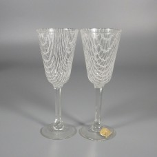 Vintage Czech Harrach Art Glass Harrtil Merletto Cordial Stems - Pair