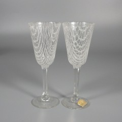 Vintage Czech Harrach Art Glass Harrtil Merletto Cordial Stems - Pair