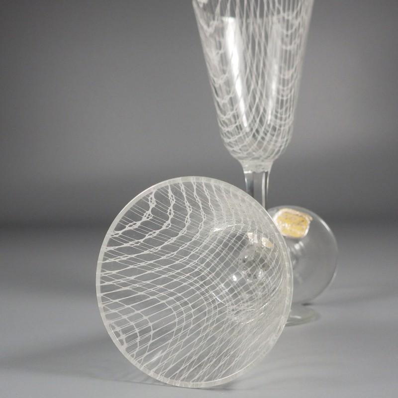 Pair of Vintage Czech Harrach Art Glass Harrtil Merletto Cordial Stems