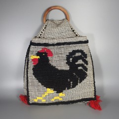 Folk Art Cockerel Rooster Chicken Woven Saddlebag Boho Tote Bag