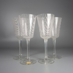 Vintage Czech Harrach Art Glass Harrtil Merletto Wine Glasses Set of 4