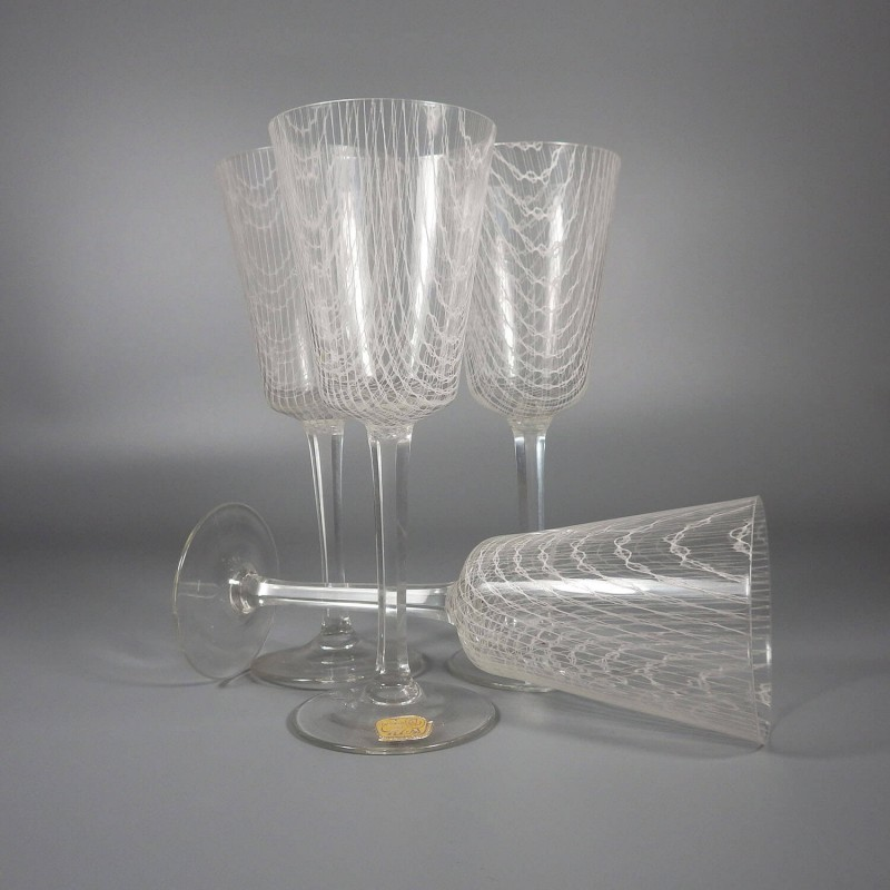 Four Vintage Czech Harrach Art Glass Harrtil Merletto Wine