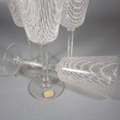 Vintage Czech Harrach Art Glass Harrtil Merletto Wine Glasses Set of 4