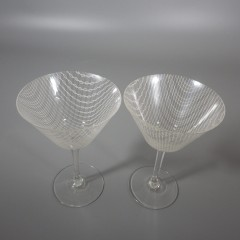 Harrachov Harrtil Merletto Martini Bohemian Czech Glass 1950s MCM Pair
