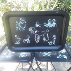 Mid Century Vintage Spaghetti Poodles Folding TV Tray Tables