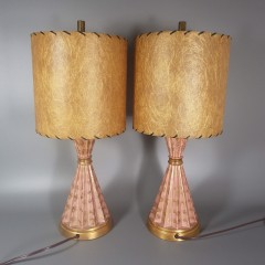 Mid Century Modern Table Lamps - Pink and Gold Fluted Regency Atomic