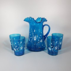 Blue Antique Victorian Water Pitcher and Glass Set - White Enamel