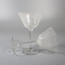 Harrtil Merletto Liquor Cocktail Glass 1950s MCM Harrachov Bohemian Czech - Pair