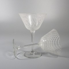 Harrtil Merletto Liquor Cocktail Glass 1950s MCM Harrachov Bohemian Czech - Pair