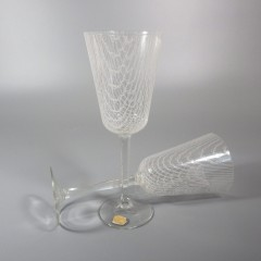 Harrtil Merletto Water Glasses 1950s MCM Harrachov Bohemian Czech - Pair