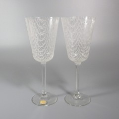 Harrtil Merletto Water Glasses 1950s MCM Harrachov Bohemian Czech - Pair