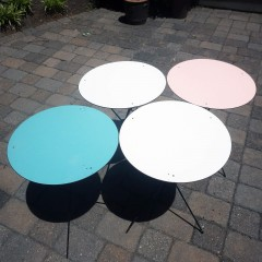 Mid Century Round Collapsible Patio Tables Folding TV Trays - Set of 4
