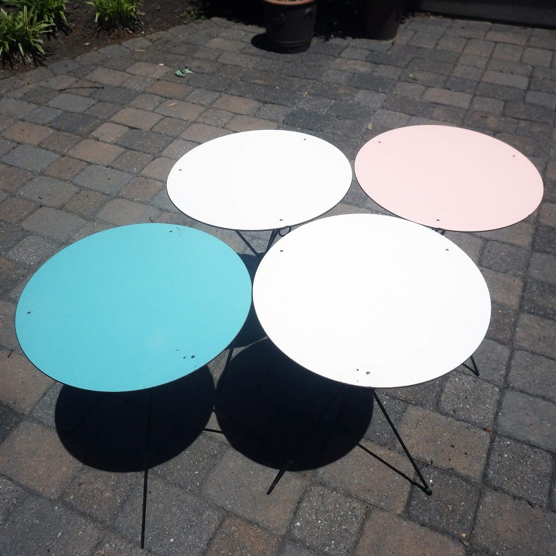 Mid Century Round Collapsible Patio Tables Folding TV Trays   Set Of 4
