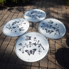 Butterfly Mid Century Round Folding Collapsible Patio Table Trays - Set of 4