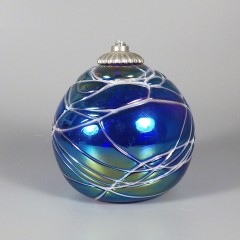 Vintage Hand Blown Glass Ball Oil Lamp - Intaglio Art Glass Studio
