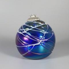 Vintage Hand Blown Glass Ball Oil Lamp - Intaglio Art Glass Studio