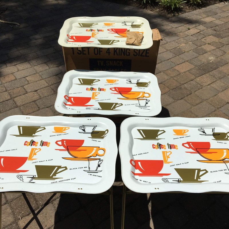 1960s Marsh Allan Coffee Time Metal Tv Snack Tray Tables Vintage Set