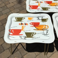 1960s Marsh Allan Coffee Time Metal TV Snack Tray Tables - Vintage Set