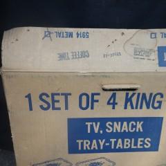 1960s Marsh Allan Coffee Time Metal TV Snack Tray Tables - Vintage Set