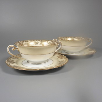 Pair Noritake China Gastonia Double-Handled Cream Soup Cups Bowls and Saucers