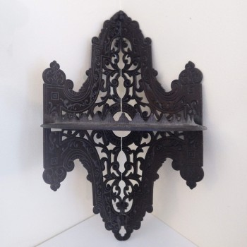 Antique Victorian Cast Iron Corner Parlor Stove Shelf Ornate Eastlake Style