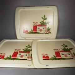 Vintage Mid Century Cal Dak Christmas Santa TV Tray Top Set Fiberglass