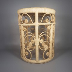 Vintage Rattan Plant Stand Stool Side Table - Open Butterfly Design