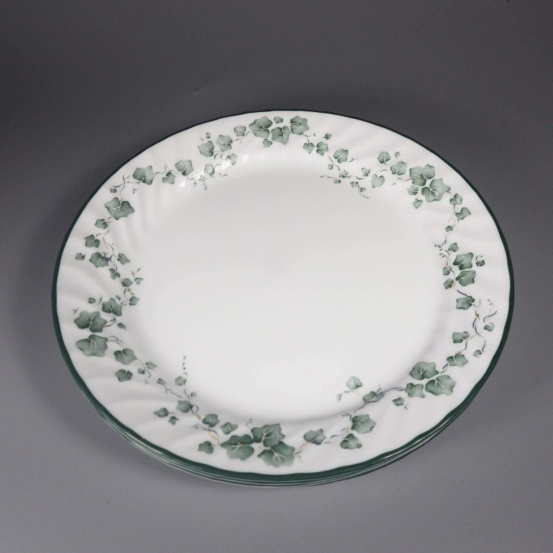 New Corelle Callaway Ivy Dinner Plates - Scalloped Swirl Edge - Set of 4 & Corelle Callaway Ivy Dinner Plates Scalloped Set of 4