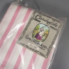 Vintage Springmaid Pillowcases Pink White Striped NOS Percale Cotton