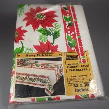 Vintage Christmas Flannel Backed Vinyl Tablecloth 52x70 Poinsettia